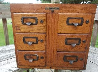 Antique 6 Drawer Library Card Oak Catalog Index File Cabinet With Removable Top photo