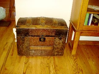 Antique Childs Size Camel Back Wooden Trunk With Metal Decor/trim photo