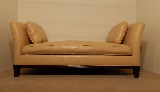 Baker Furniture Company Barbara Barry Leather Uphostered Daybed Chaise Lounge photo