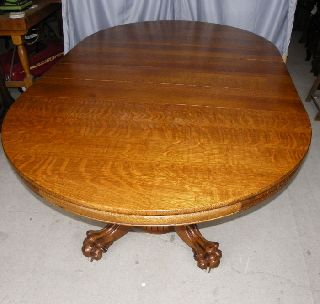 Antique Round Oak Dinning Table With Claw Feet photo