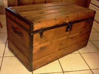 1800 ' S Antique Civil War Primative Stagecoach Steamer Trunk Ex Large photo