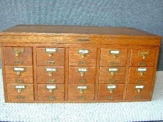 Oak Library Card File By Sole Maker,  Brass Label,  15 Drawers,  All photo
