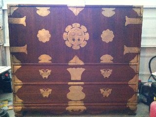 Chinese (taipei} Dresser Chest 1960 ' S - 1970 ' S Lots Of Brass photo