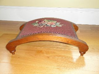 Vintage Walnut Needlepoint Footstool / Excellent Finish photo