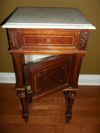 Vintage Antique Marble Top Night Stand / Occasional Table / Euc photo