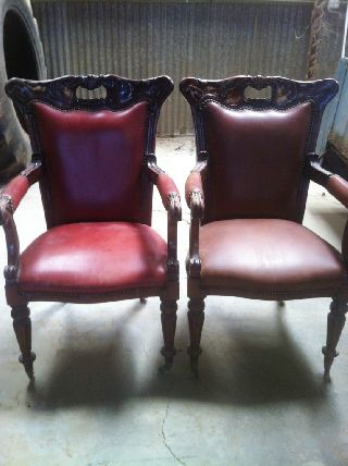 Great Pair Of Leather Victorian William Iv Armchairs,  C.  1830 - 37 photo