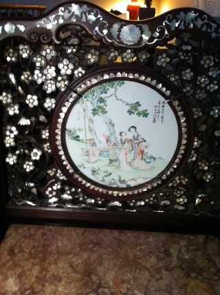 19th Century Antique Chinese Huanghuali Wood And Mother Of Pearl Chair W/ Insert photo