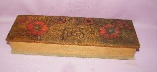 Antique Vintage Primitive Wood Tie Glove Jewelry Box photo