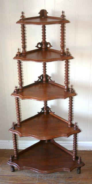 Exquisite English Antique Walnut Barley Twist Corner Cabinet photo