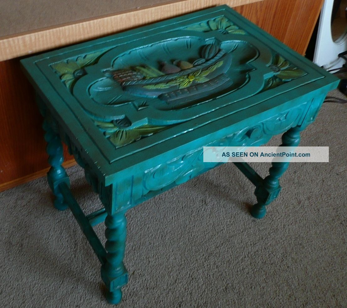Vintage 1940s Hand Carved Hand Painted Solid Mahogany Table 1900-1950 photo