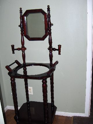 Wash Basin & Pitcher Stand.  Stained Cherrywood.  Age Unknown.  Victorian. photo