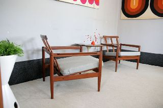 Mid Century Danish Modern Pair Teak Lounge Chairs Borge Jensen Sonner Eames Era photo