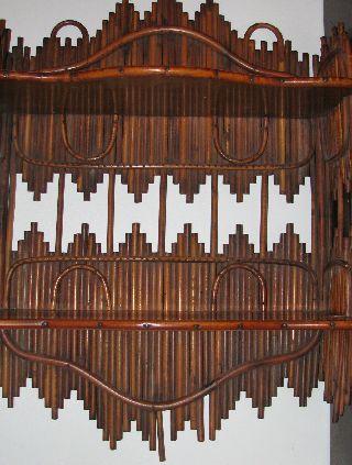 2 Antique Stick Wicker Hanging Shelves Victorian/arts&crafts/tramp Art photo
