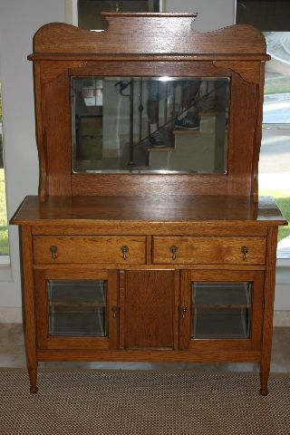 Antique Solid Oak Hutch Cabinet photo