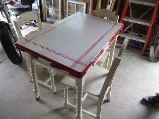 Antique Vintage Metal Porcelain Table With Dropleaf Pullout W/ Chairs photo