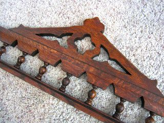 Tiger Oak Victorian Gothic Furniture Pediment Spindle Rail Cabinet Header Crest photo