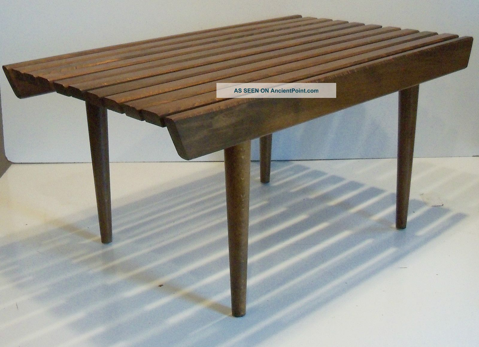 Vintage Eames Era Mid Century Danish Modern Wooden Slat Coffee Table Bench Post-1950 photo