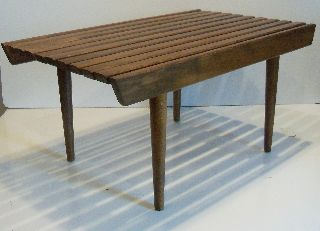 Vintage Eames Era Mid Century Danish Modern Wooden Slat Coffee Table Bench photo