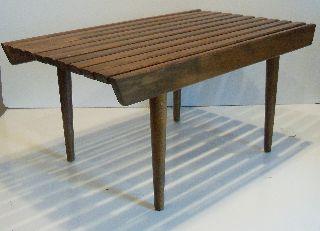 Vintage Eames Era Mid Century Danish Modern Wooden Slat Coffee Table Bench photo
