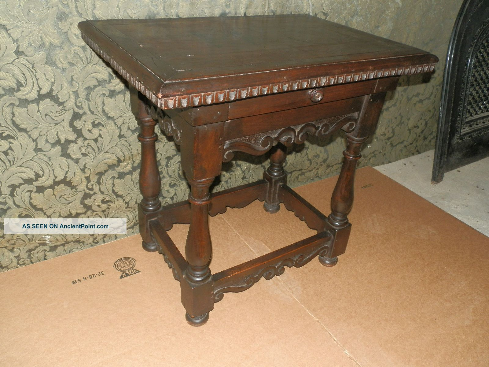Wonderful Antique English Oak Pub Table With Carved Detail & Drawer 1900-1950 photo