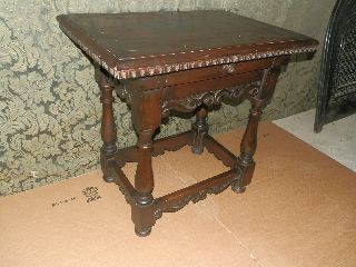 Wonderful Antique English Oak Pub Table With Carved Detail & Drawer photo