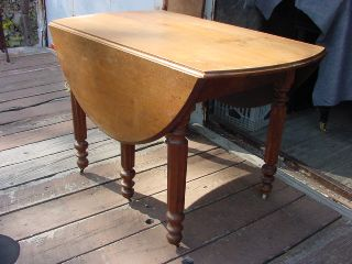 American Victorian Walnut Drop Leaf Dining Table Circa 1870 In Nh. photo
