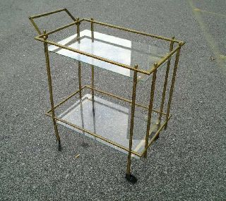 1960 ' S Hollywood Regency Brass Tea/bar Cart photo