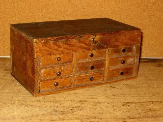 Very Rare 19th C Nine (9) Drawer Watch Makers Chest Surface Apothocary photo