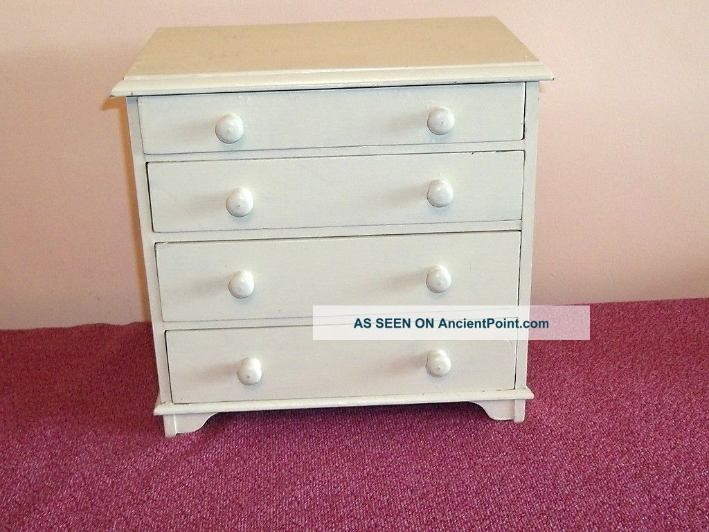 Small Vintage Wooden Painted Shabby Chic 4 Drawer Small Cabinet Edwardian (1901-1910) photo