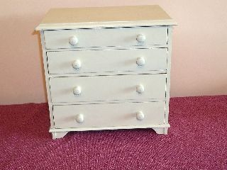 Small Vintage Wooden Painted Shabby Chic 4 Drawer Small Cabinet photo