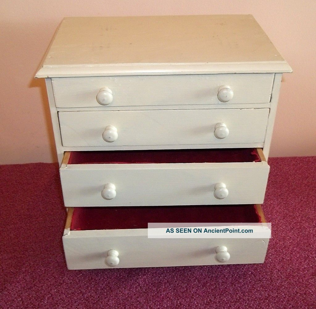 Amazing photo of Small Vintage Wooden Painted Shabby Chic 4 Drawer Small Cabinet  with #370813 color and 1024x999 pixels