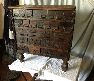 Cool Antique File Cabinet Dresser 28 Tin Lined Drawers photo