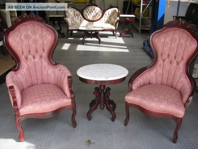 Vintage Victorian Style Chairs And Marble Tea Table By Kimball   Excellent    Vintage Victorian Style