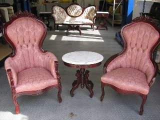 Vintage Victorian Style Chairs And Marble Tea Table By Kimball - Excellent photo
