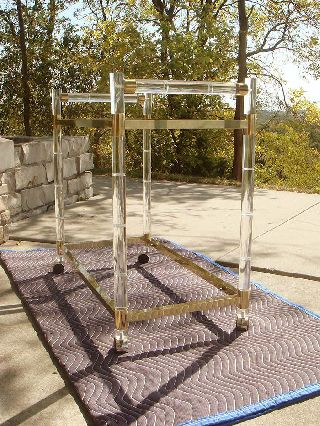 Chj - Charles Hollis Jones - Brass/lucite Serving Cart Faux Bamboo - Hollywood Regency photo