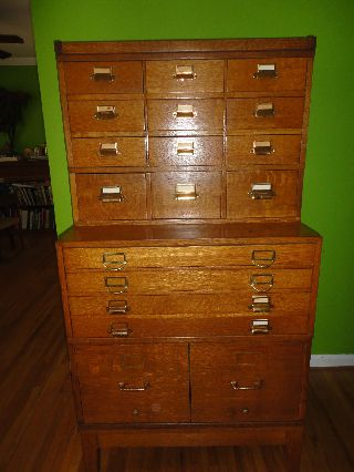Early 1900s Stepback Tiger Oak Card File Map Drawers And File Cabinet Mission photo
