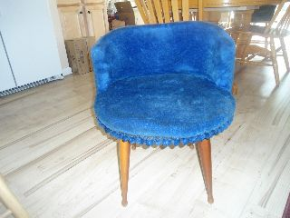 Vintage 1920s - 30s? Retro Vanity Stool Chair Blue With Tassles And Wooden Legs photo
