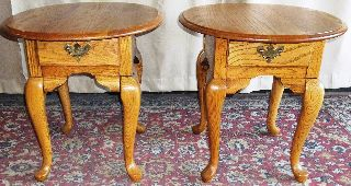 Vintage Broyhill Oak Queen Anne Side/ End Tables,  Drawers Pair photo