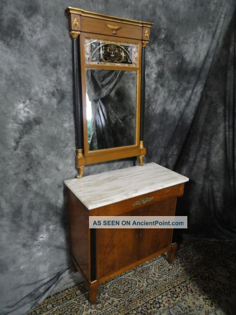 Signed Antique Charak Console Table Mahogany Mirror 1900-1950 photo