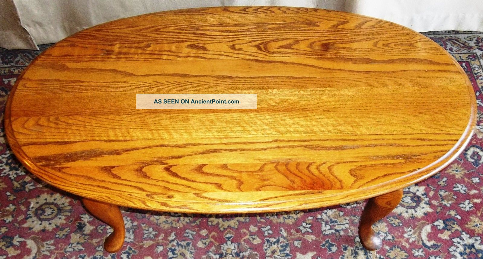 Vintage Broyhill Oak Queen Anne Oval Coffee Table Post-1950 photo