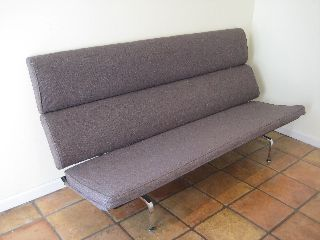 Eames Compact Sofa 1954 Girard Hopsack Fabric Gray photo