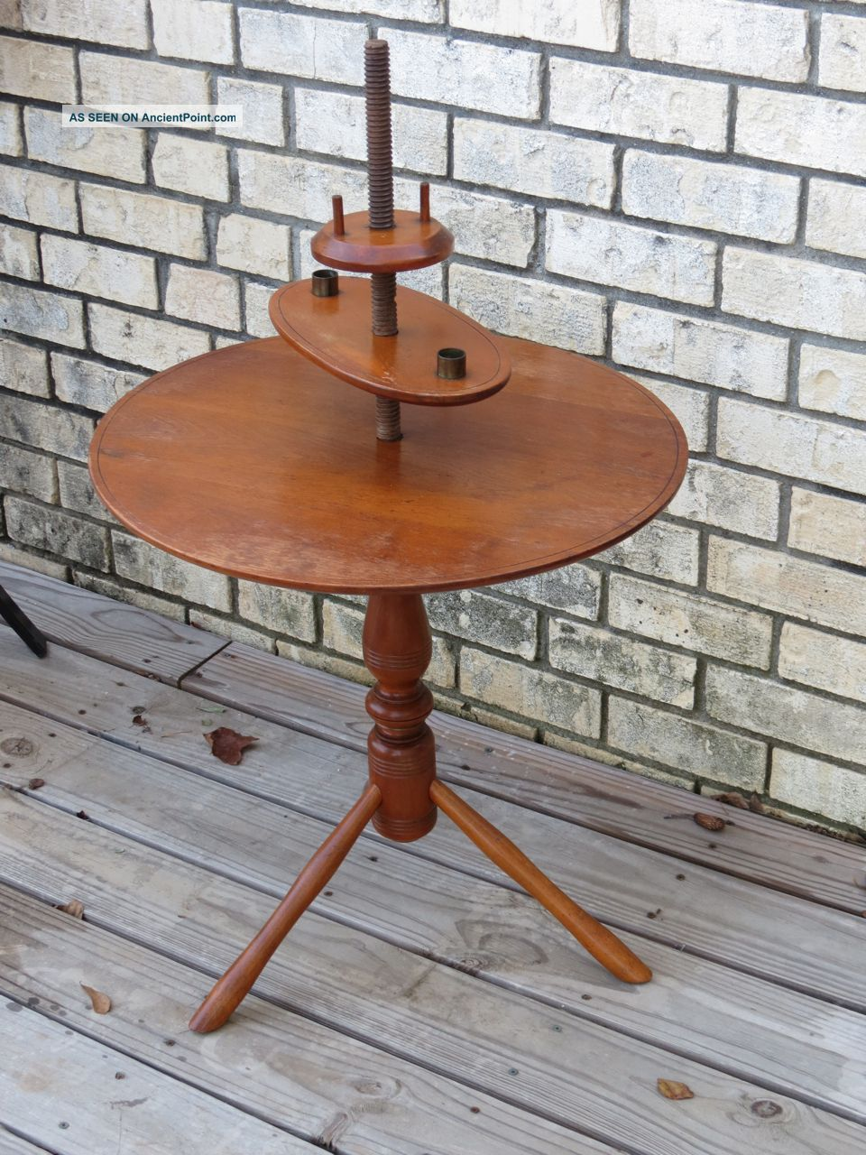 Antique Early Century Colonial Round Candle End Table Maple Wood 1800-1899 photo