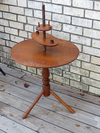 Antique Early Century Colonial Round Candle End Table Maple Wood photo