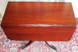 Antique Mahogany Drop Leaf Center Spindle Table With 1 Drawers photo