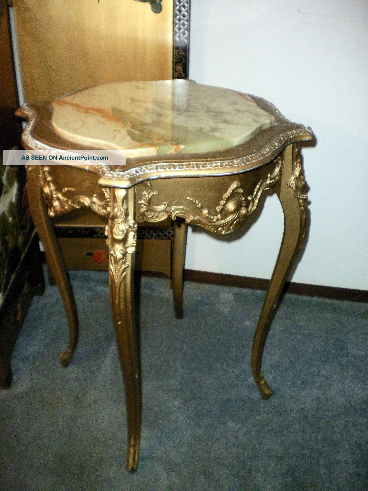 Antique French Louis Xv Gold Gilt Center Foyer End Table W/onyx Top 1900-1950 photo