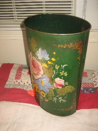 Charming Vintage Hand Painted Tole Wastebasket photo