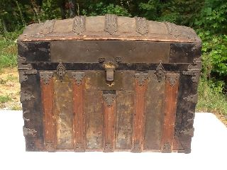 Antique Camel Back Wooden Dated 1881 Steamer Trunk photo