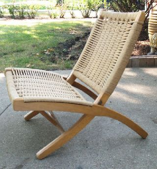 Vintage Danish Modern/wegner Era Folding Rope Chair Yugoslavia photo