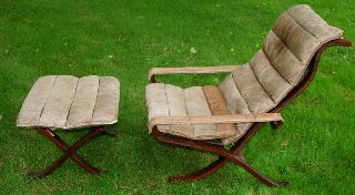 Mid - Century Danish Modern Westnofa Relling Leather Chair Folding Ottoman Eames photo