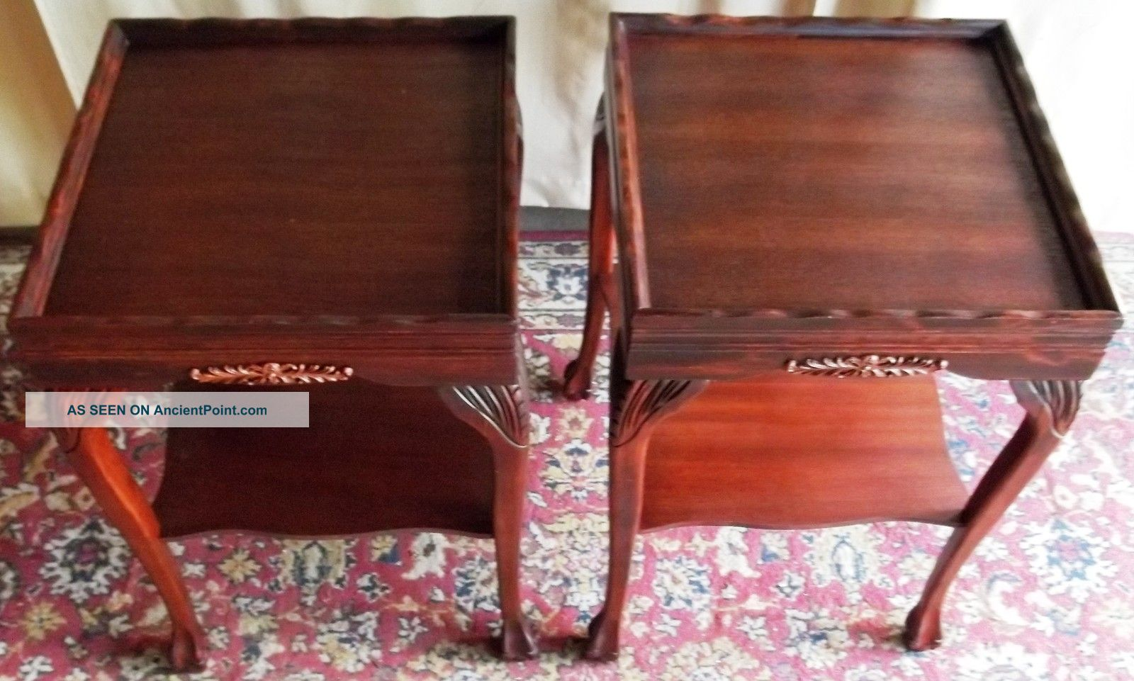 Antique Mahogany Two Tier Recessed Top Tables With Carvings Pair 1900-1950 photo